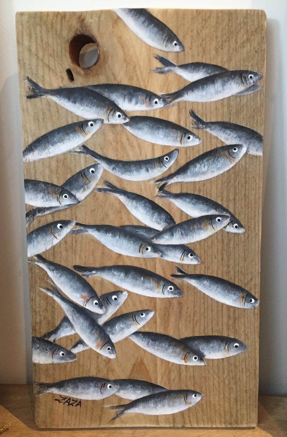 Sardines sur bois
